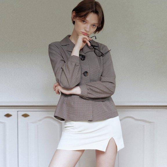 韩国设计师品牌Hackesch 21秋冬 宽松百搭西装领单排扣收腰衬衫
