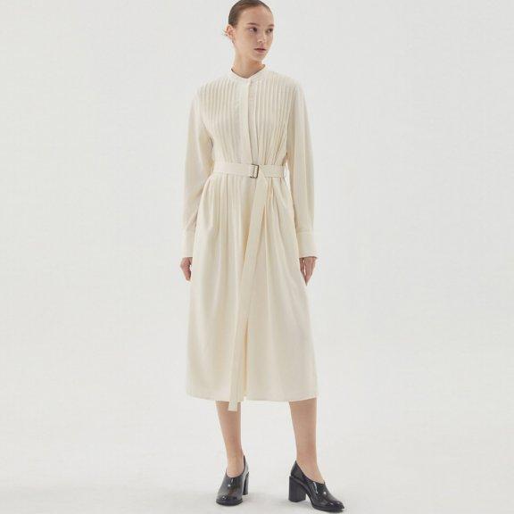 正品HAE BY HAEKIM 韩国设计师品牌 21秋冬 圆领压褶束腰连衣裙