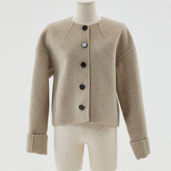 HAE BY HAEKIM 韩国设计师品牌 21秋冬 圆领单排扣羊毛夹克外套