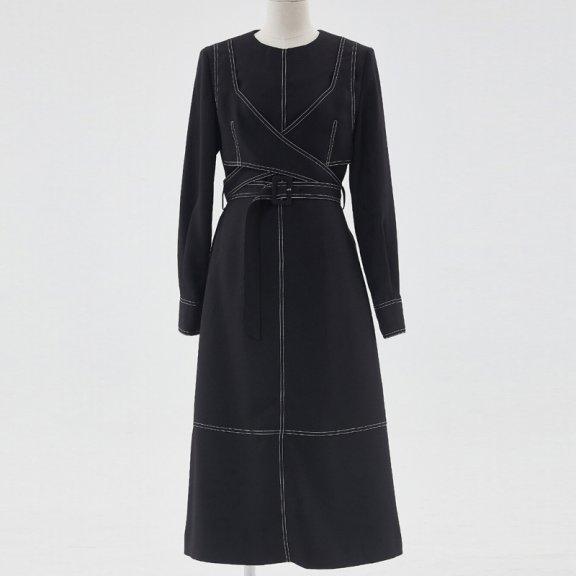 HAE BY HAEKIM 韩国设计师品牌 21秋冬 小众设计束带收腰连衣裙