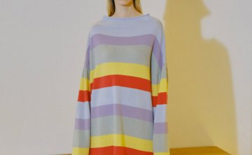 Trunk Project 韩国设计师品牌 21秋冬 卷边领口多色条纹宽松毛衣