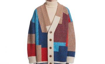 Trunk Project 韩国设计师品牌 21秋冬 提花编织拼色长袖针织开衫