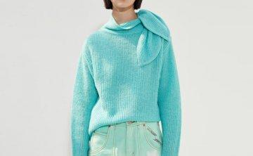 正品anderssonbell 韩国设计师品牌 21秋冬 丝带领宽松套头针织衫