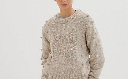 正品代购EENK 韩国设计师品牌 21秋冬 浅灰色绒球针织套头毛衣