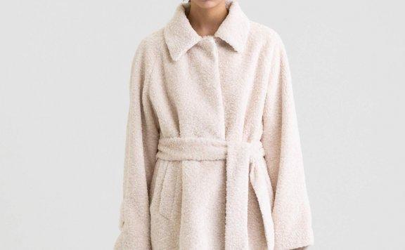 KINDERSALMON 21秋冬 韩国设计师品牌 翻领腰带款摇绒粒大衣外套