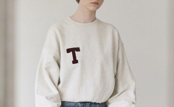 正品Dunst 韩国设计师品牌 2021秋冬 纯棉经典圆领LOGO宽松运动衫