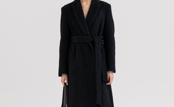 KINDERSALMON 21秋冬 韩国设计师品牌 翻领无扣腰带羊毛大衣外套