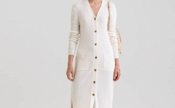 KINDERSALMON 21秋冬 韩国设计师品牌 V领口袋侧开叉针织连衣裙