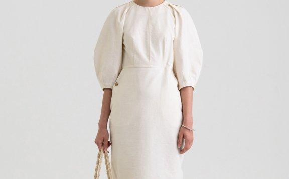 KINDERSALMON 21秋冬 韩国设计师品牌 简约风收腰款灯笼袖连衣裙