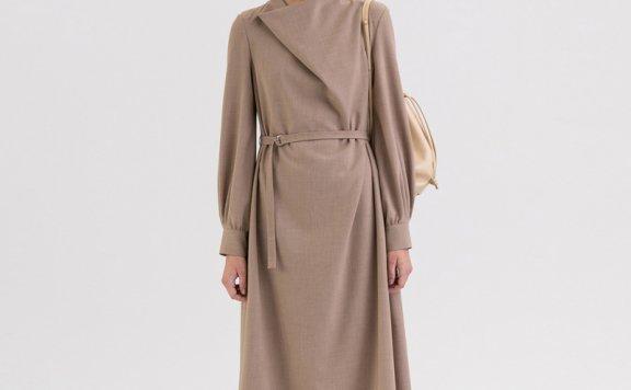KINDERSALMON 21秋冬 韩国设计师品牌 垂褶领A字腰带款长连衣裙