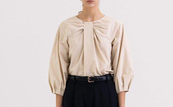 KINDERSALMON 21秋冬 韩国设计师品牌 褶皱领七分袖拉链款衬衫