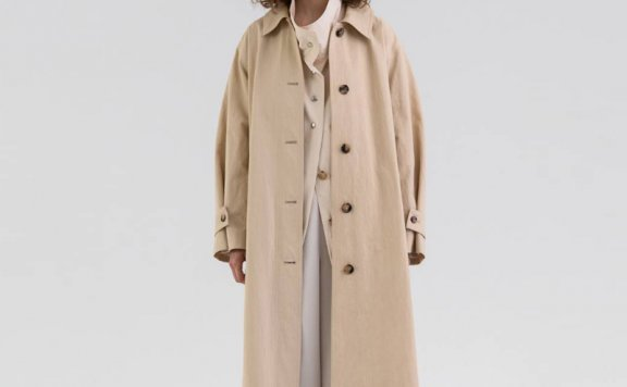 KINDERSALMON 21秋冬 韩国设计师品牌 单排扣腰带水洗棉风衣外套