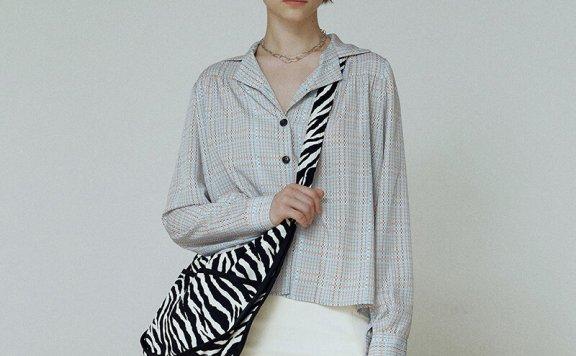 韩国设计师品牌Hackesch 21秋冬 西装领宽松百搭条纹长袖衬衫直邮