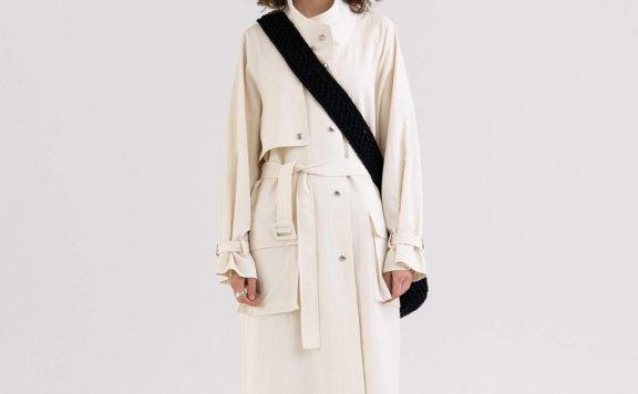 KINDERSALMON 21秋冬 韩国设计师品牌 立领腰带款层次感风衣外套
