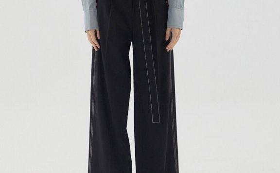 正品代购HAE BY HAEKIM 韩国设计师品牌 21秋冬 宽腰带缝线直筒裤