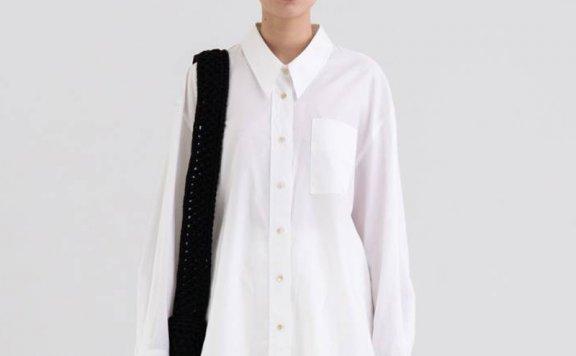 KINDERSALMON 21秋冬 韩国设计师品牌 小尖领宽松长袖衬衫上衣