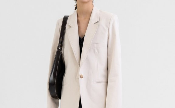 KINDERSALMON 21秋冬 韩国设计师品牌男友风缝线棉质休闲西装外套