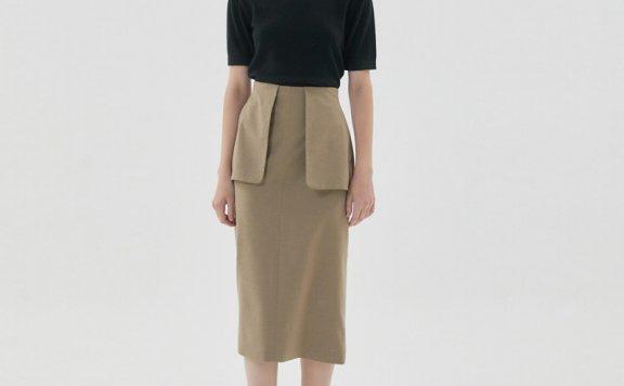 正品HAE BY HAEKIM 韩国设计师品牌 21秋冬 大口袋后开叉半身裙