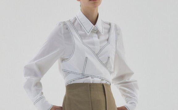 韩国设计师品牌HAE BY HAEKIM  21秋冬 小众设计假两件长袖衬衫