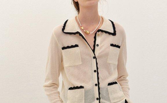 EENK 韩国设计师品牌 21秋冬 棉质薄款防晒小香风口袋针织开衫