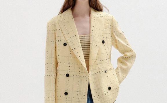 正品代购EENK 韩国设计师品牌 21秋冬 双排扣气质格纹西装外套