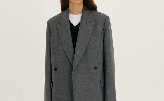 正品Dunst 韩国设计师品牌 2021秋冬 一粒扣双排扣羊毛西装外套