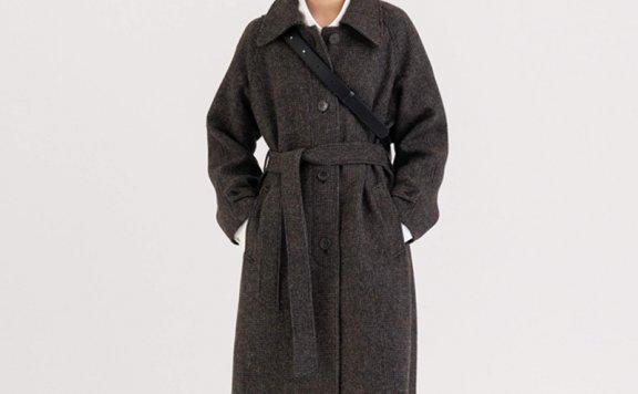 KINDERSALMON 21秋冬 韩国设计师品牌 单排扣腰带款羊毛大衣外套
