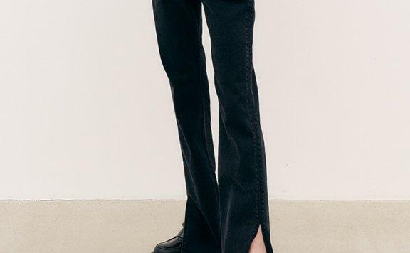 MAISONMARAIS 韩国设计师品牌 21秋冬 高腰显瘦前开叉阔腿牛仔裤