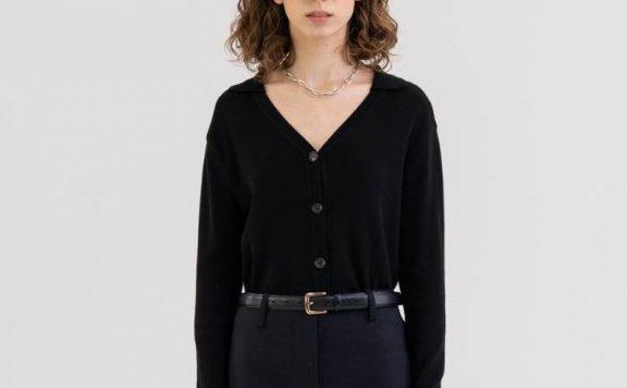 KINDERSALMON 21秋冬 韩国设计师品牌 V尖领修身针织开衫上衣直邮