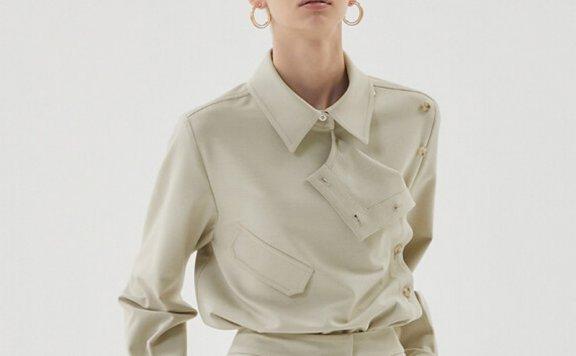 正品HAE BY HAEKIM 韩国设计师品牌 21秋冬 尖领纽扣款长袖衬衫