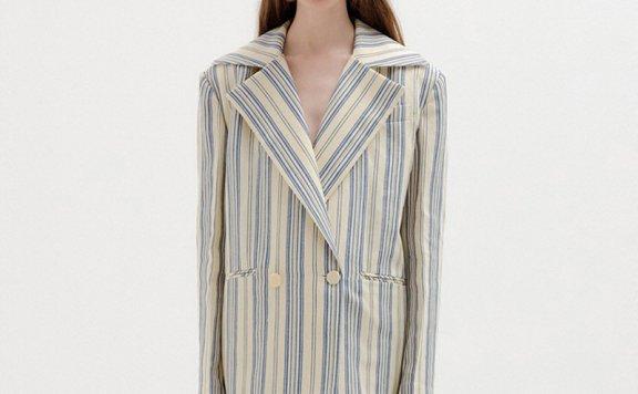 EENK 韩国设计师品牌 21秋冬 oversize黑白翻领侧开叉西装外套