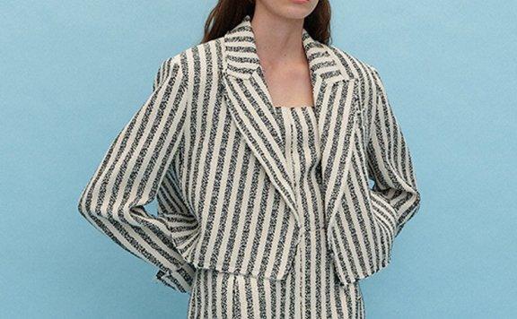 正品代购EENK 韩国设计师品牌 21秋冬 西装领条纹尖领短夹克外套