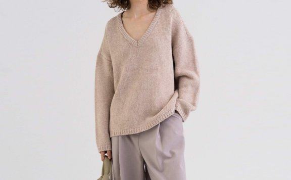 KINDERSALMON 21秋冬 韩国设计师品牌 深V套头羊毛针织衫上衣正品