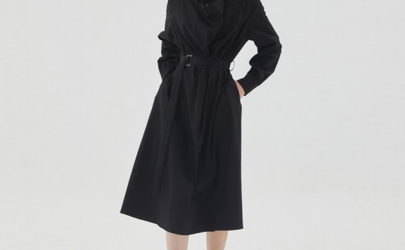 HAE BY HAEKIM 韩国设计师品牌 21秋冬 翻领束腰分层衬衫连衣裙