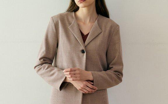 正品MONTS 韩国设计师品牌 21秋冬 无领一粒扣格纹休闲西装外套