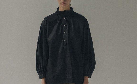 NOTHING WRITTERN 21秋冬 韩国设计师品牌 立领套头压褶廓形衬衫
