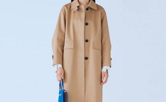 kuho plus韩国设计师品牌 21秋冬翻领单排扣后开叉宽松百搭风衣
