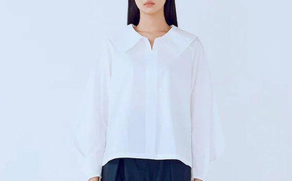 kuho plus韩国设计师品牌 21秋冬 纯棉水手领宽松百搭长袖衬衫