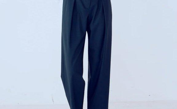 kuho plus韩国设计师品牌 21秋冬 松紧腰压褶宽松百搭直筒裤长裤