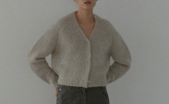 正品代购H8 21秋冬 韩国设计师品牌 基础款V领按扣针织开衫外套