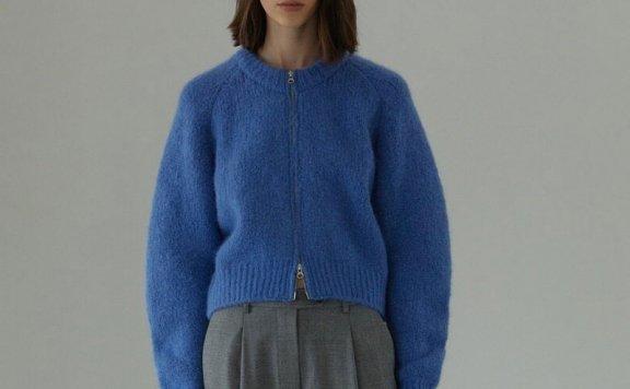 H8 21秋冬 韩国设计师品牌 罗纹圆领拉链款针织开衫外套正品直邮