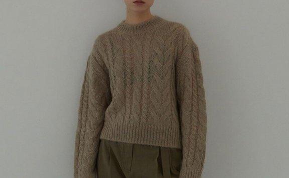 H8 21秋冬 韩国设计师品牌 罗纹圆领套头马海毛麻花针织衫上衣