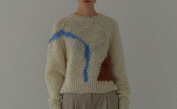 正品代购H8 21秋冬 韩国设计师品牌 圆领套头复古线条针织毛衣