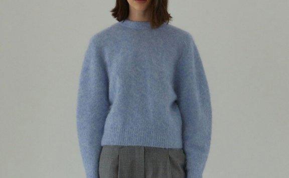 正品代购H8 21秋冬 韩国设计师品牌 罗纹圆领套头马海毛针织衫