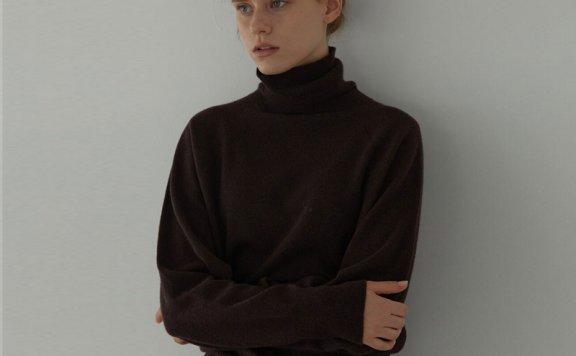 正品H8 21秋冬 韩国设计师品牌 经典款高领套头宽松羊绒针织衫