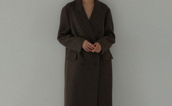 H8 21秋冬 韩国设计师品牌 双排扣宽松后开叉长款羊毛大衣外套