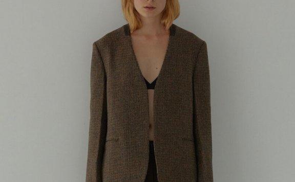 H8 21秋冬 韩国设计师品牌 无领宽松百搭格纹羊毛夹克