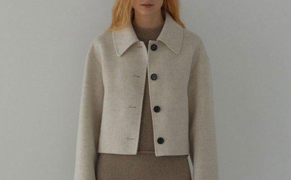 正品H8 21秋冬 韩国设计师品牌 小尖领落肩手工羊毛短夹克外套