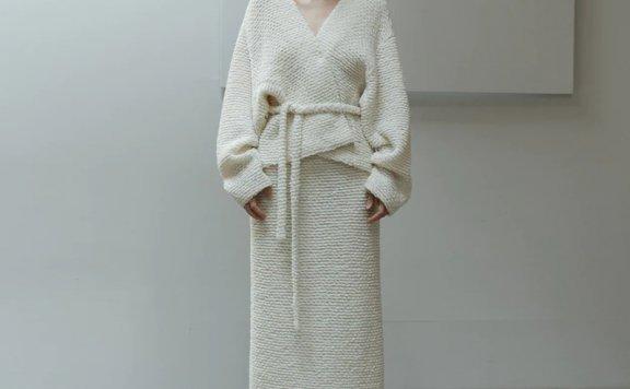 LE 17 SEPTEMBRE 21秋冬羊毛套装系带围裹式开衫外套半身裙套装