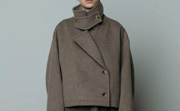 正品代购LE 17 SEPTEMBRE 21秋冬 两粒扣宽领西装领羊毛短款外套